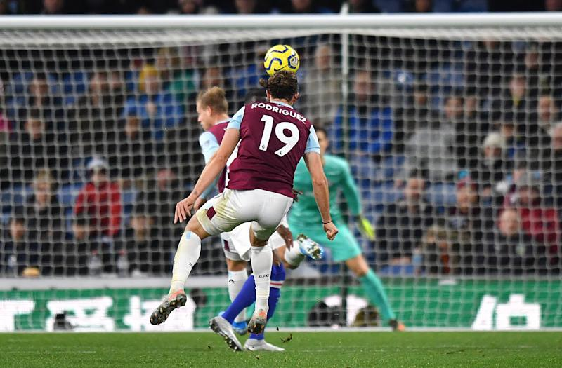 Burnley's Jay Rodriguez scores his side's first goal of the game during the Premier League match at Turf Moor, Burnley.