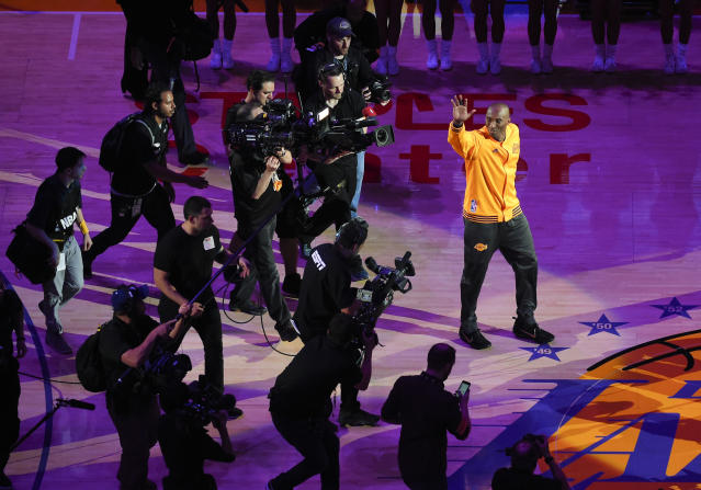 Kobe Bryant reportedly viewed the footage from camera crews he hired in his final Lakers season for a potential documentary. (AP Photo/Mark J. Terrill)