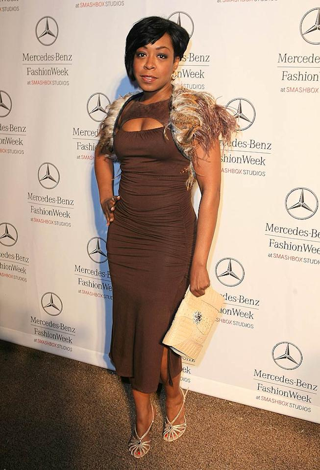 "We know Tichina Arnold (""Everybody Hates Chris"") was trying to be edgy for fashion week, however, her hairy ensemble does nothing but remind us of Big Foot. Katy Winn/<a href=""http://www.gettyimages.com/"" target=""new"">GettyImages.com</a> - March 11, 2008"