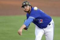 Toronto Blue Jays starting pitcher Anthony Kay throws against the Philadelphia Phillies during the first inning of a baseball game Saturday, May 15, 2021, in Dunedin, Fla. (AP Photo/Mike Carlson)