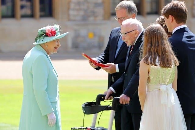 The Queen met Sir Tom's family when he she dubbed him a knight. Chris Jackson/PA Wire