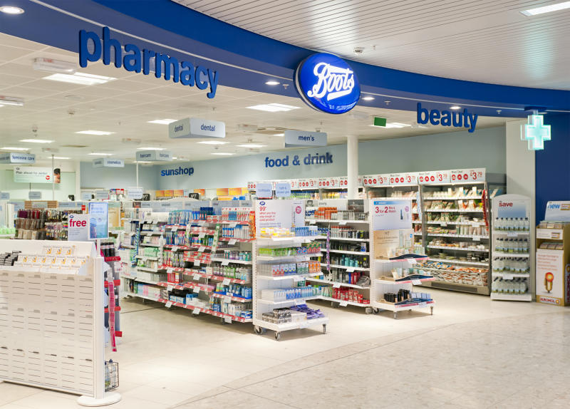 Edinburgh, Scotland, UK - January 14, 2011: The entrance to a Boots pharmacy and beauty shop in Edinburgh Airport.