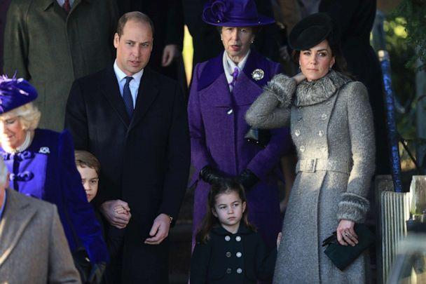 PHOTO: Prince William, Prince George, Princess Charlotte and Catherine, Duchess of Cambridge attend the Christmas Day Church service at Church of St Mary Magdalene on the Sandringham estate, Dec. 25, 2019 in King's Lynn, UK. (Stephen Pond/Getty Images)