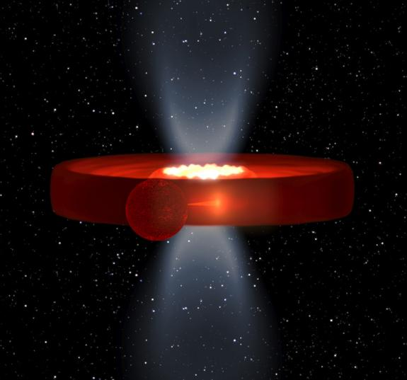 This image is a simulation of the X-ray binary system Swift J1357.2-0933, a black hole and star system, in which the effect of a strange, vertical mystery structure are at their minimum.