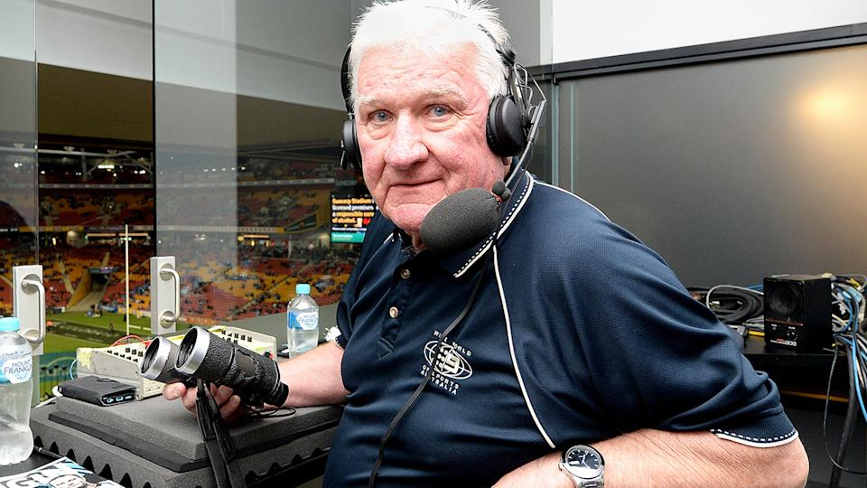 Ray Warren, pictured here in 2017 before game one of the State Of Origin series.