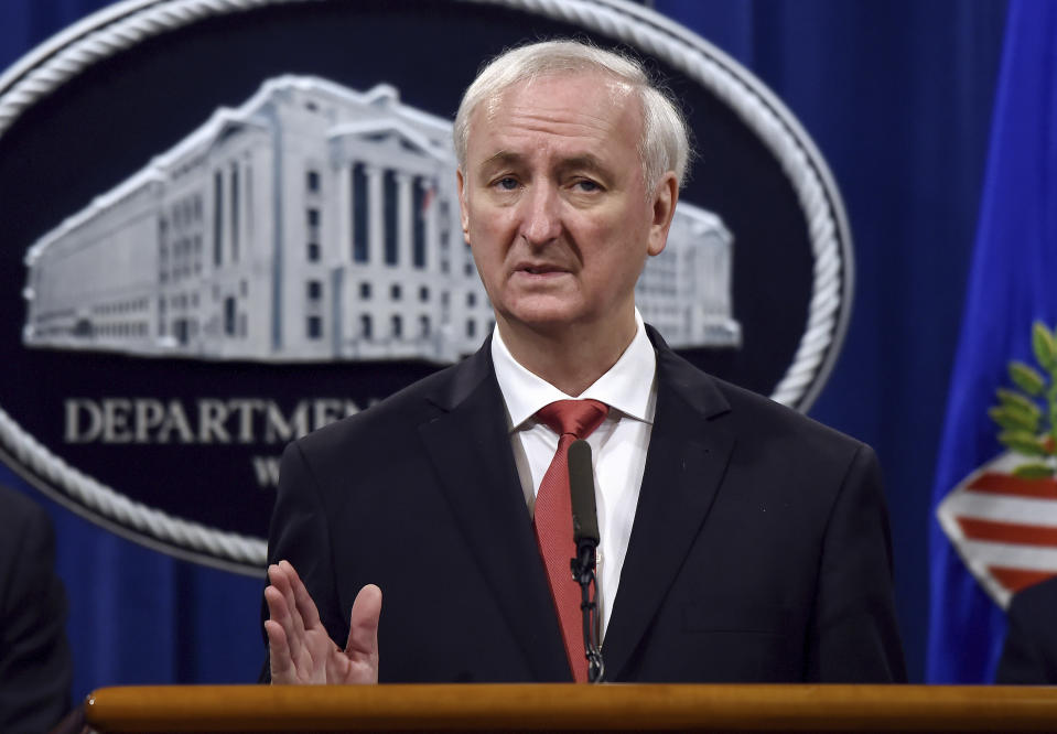 File - In this Sept. 22, 2020 file photo, Deputy Attorney General Jeffrey Rosen speaks during a news conference at the Department of Justice in Washington. A report by the Senate Judiciary Committee's Democratic majority details Donald Trump's extraordinary effort to overturn the 2020 presidential election that he lost. His pursuit of fraud claims brought the Justice Department to the brink of chaos and prompted top officials there and at the White House to threaten to resign. (Olivier Douliery/Pool via AP)