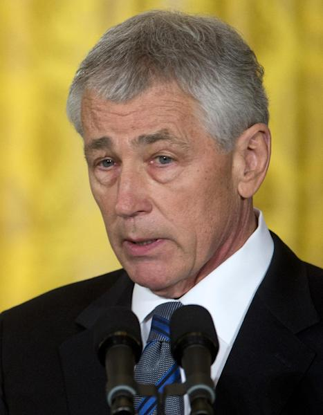In this Jan. 7, 2013 photo, former Nebraska Sen. Chuck Hagel, president Barack Obama's choice for defense secretary, speaks in the East Room of the White House in Washington, Monday, Jan. 7, 2013, where the president made the announcement. Hagel secured the backing of two of the staunchest pro-Israel Senate Democrats in a clear boost to the Republican's prospects of becoming President Barack Obama's next defense secretary. (AP Photo/Carolyn Kaster)