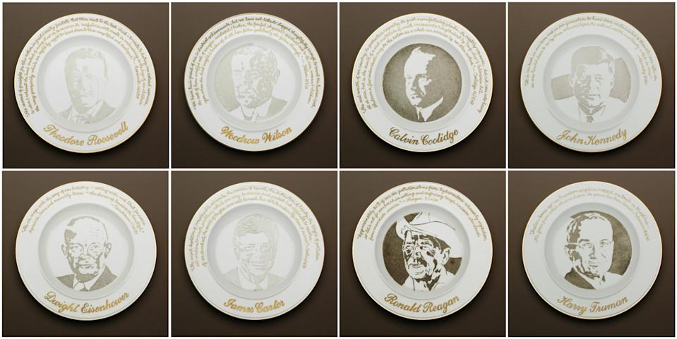 Eight of the original 17 Presidential Commemorative Smog Plates, made of particulate matter on porcelain.