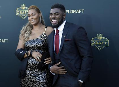 Landon Collins poses with his mother April Justin, upon arriving for the NFL draft. (AP)