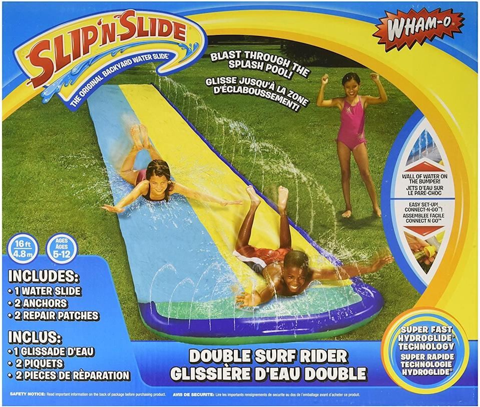 """<p>Hot Summer days will seem more fun with this <a href=""""https://www.popsugar.com/buy/Wham-O-Slip-N-Slide-Surf-Rider-Double-Sliding-Lanes-568689?p_name=Wham-O%20Slip%20%27N%20Slide%20Surf%20Rider%20Double%20Sliding%20Lanes&retailer=amazon.com&pid=568689&price=23&evar1=moms%3Aus&evar9=25997679&evar98=https%3A%2F%2Fwww.popsugar.com%2Fphoto-gallery%2F25997679%2Fimage%2F44881395%2FWham-O-Slip-N-Slide-Surf-Rider-Double-Sliding-Lanes&list1=gifts%2Choliday%2Cgift%20guide%2Cgifts%20for%20kids%2Ckid%20shopping%2Choliday%20living%2Ctweens%20and%20teens%2Choliday%20for%20kids%2Cgifts%20for%20teens&prop13=api&pdata=1"""" class=""""link rapid-noclick-resp"""" rel=""""nofollow noopener"""" target=""""_blank"""" data-ylk=""""slk:Wham-O Slip 'N Slide Surf Rider Double Sliding Lanes"""">Wham-O Slip 'N Slide Surf Rider Double Sliding Lanes</a> ($23).</p>"""