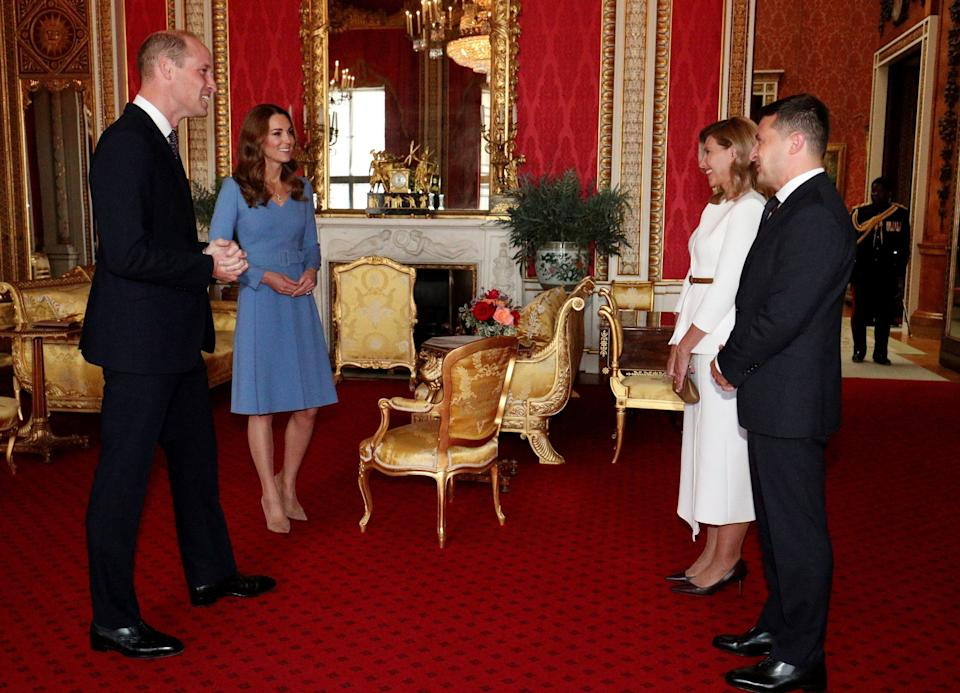The Duke and Duchess of Cambridge meet President Volodymyr Zelensky and his wife Olena - Getty