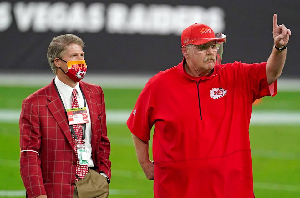 Nov 22, 2020; Paradise, Nevada, USA; Kansas City Chiefs Chairman and CEO Clark Hunt (left) next to Kansas City Chiefs head coach Andy Reid (right) prior to a game against the Las Vegas Raiders at Allegiant Stadium. Mandatory Credit: Kirby Lee-USA TODAY Sports