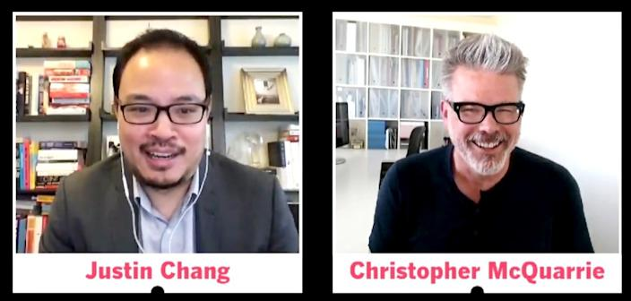 """Times film critic Justin Chang and director/writer Christopher McQuarrie discuss """"Mission: Impossible — Fallout"""" on Week 13 of the Ultimate Summer Movie Showdown. <span class=""""copyright"""">(Ken Kwok / Los Angeles Times)</span>"""