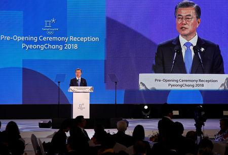 South Korean President Moon Jae-in delivers a speech during the Olympic Opening ceremony reception in Pyeongchang, South Korea February 9, 2018.  REUTERS/Kim Hong-Ji