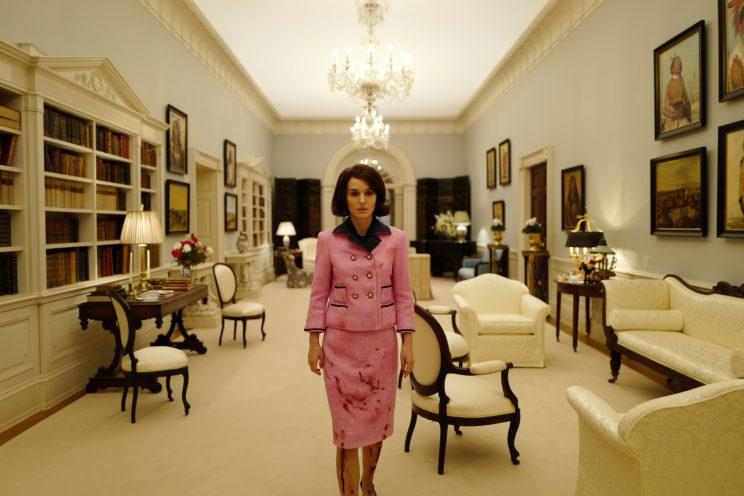 Natalie Portman as Jacqueline Kennedy, wearing the pink Chanel suit. (Photo: Pablo Larrain, Fox Searchlight Pictures)
