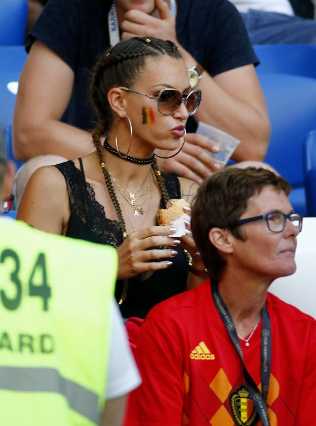 <p>Axel Witse's wife Raffaela Zsabo during the FIFA 2018 World Cup Russia group G phase match between England and Belgium at the Kaliningrad Stadium on June 28, 2018 in Kaliningrad, Russia, 28/06/18 ( Photo by Jimmy Bolcina / Photonews<br>via Getty Images) </p>