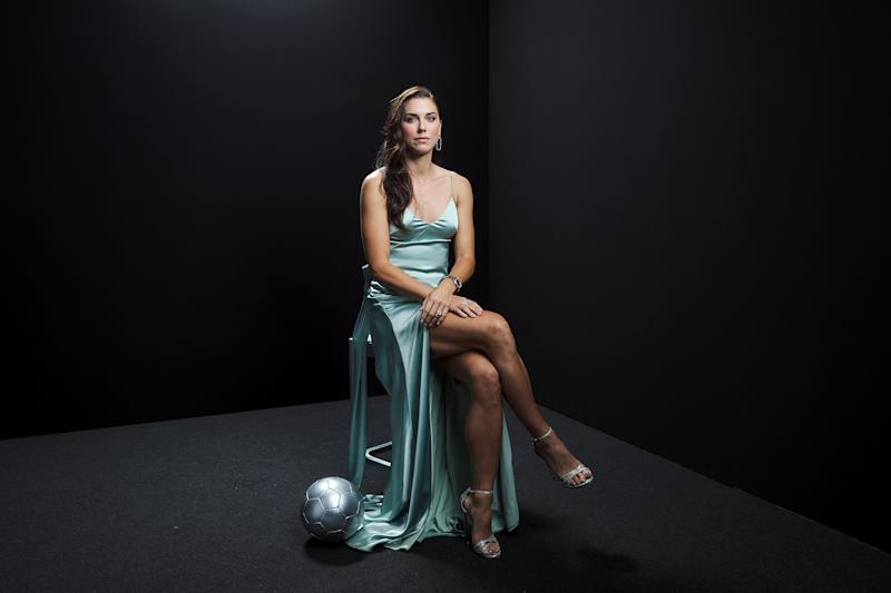 MILAN, ITALY - SEPTEMBER 23: The Best FIFA Women's Player Award finalist Alex Morgan of Orlando Pride and United States poses for a portrait in the photo booth prior to The Best FIFA Football Awards 2019 at Excelsior Hotel Gallia on September 23, 2019 in Milan, Italy. (Photo by Michael Regan - FIFA/FIFA via Getty Images)
