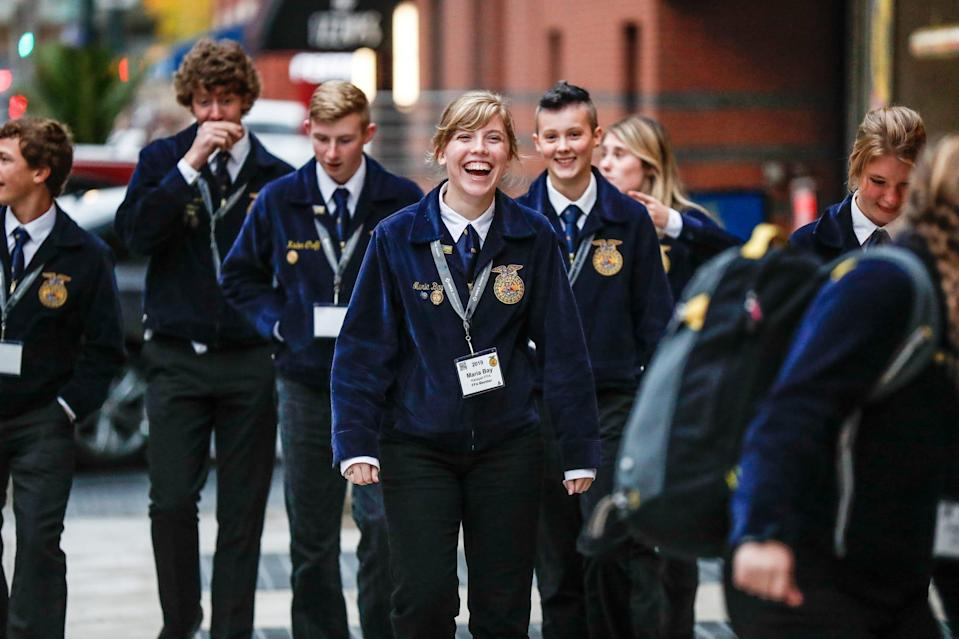 Groups of FFA students explore Downtown Indianapolis during the first day of the 92nd National FFA Convention & Expo on Oct. 30, 2019.