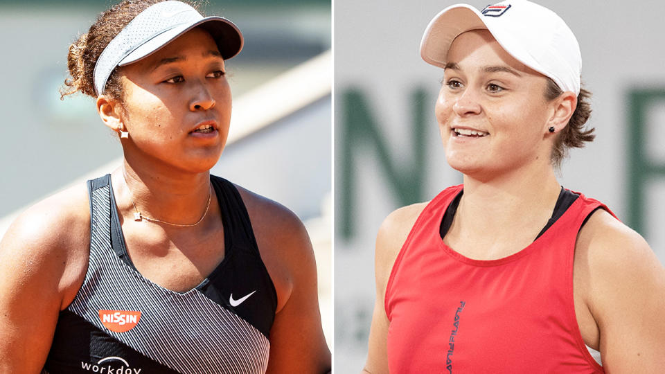 Naomi Osaka and Ash Barty, pictured here in action at the French Open.