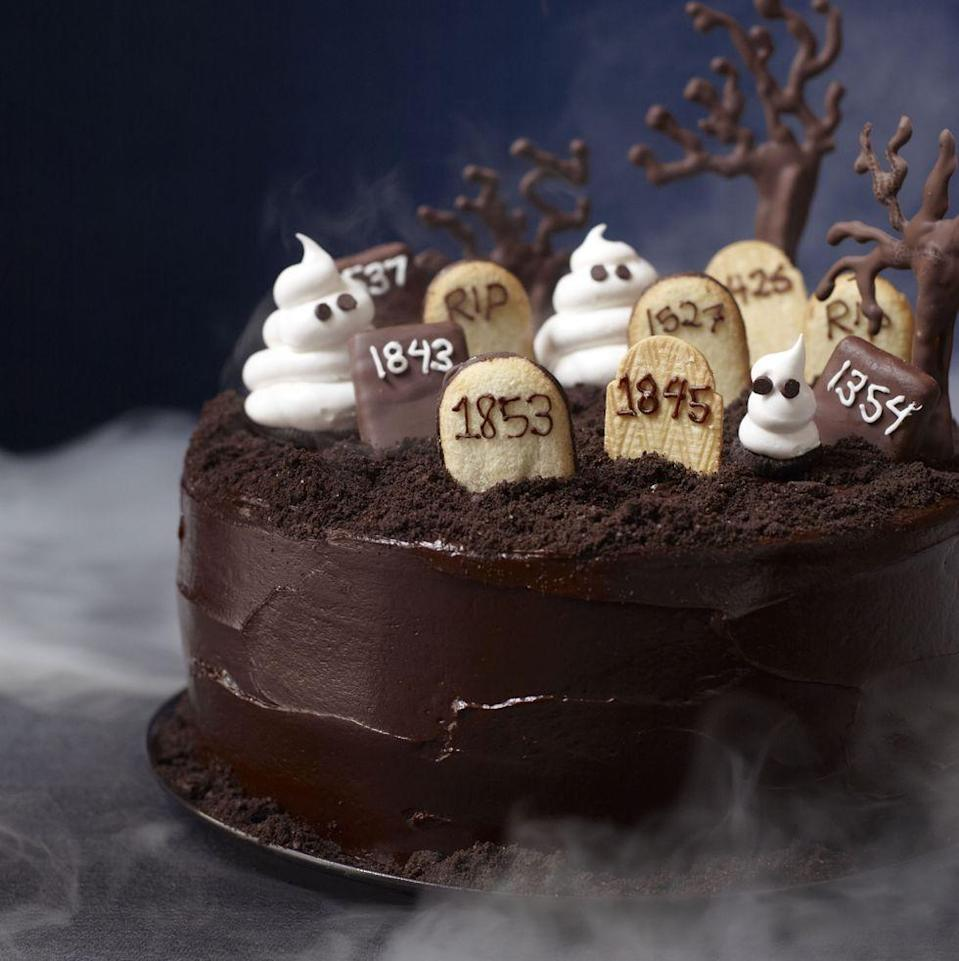 """<p>The espresso-tinged batter and bittersweet chocolate frosting will bury those chocolate cravings for good.</p><p><em><a href=""""https://www.goodhousekeeping.com/food-recipes/a14038/graveyard-cake-recipe-123437/"""" rel=""""nofollow noopener"""" target=""""_blank"""" data-ylk=""""slk:Get the recipe for Graveyard Cake »"""" class=""""link rapid-noclick-resp"""">Get the recipe for Graveyard Cake »</a></em></p>"""