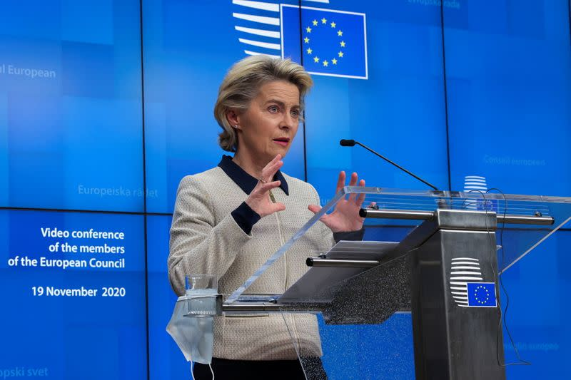 European Commission President Ursula von der Leyen speaks during a news conference in Brussels