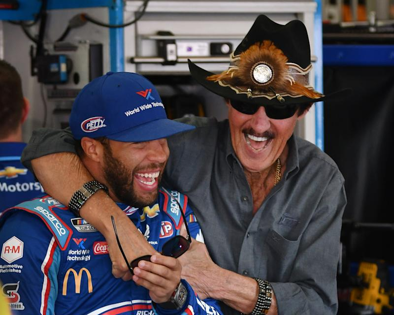 FONTANA, CA - FEBRUARY 28: NASCAR Cup Series driver Bubba Wallace (43) with car owner Richard Petty in the garage area before practice on February 28, 2020 at the Auto Club Speedway in Fontana, CA. (Photo by John Cordes/Icon Sportswire via Getty Images)