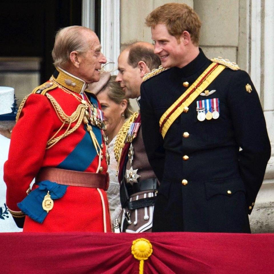 Buckingham Palace contributed a picture of the Duke with the Duke of Sussex at the Trooping of the Colour in 2014