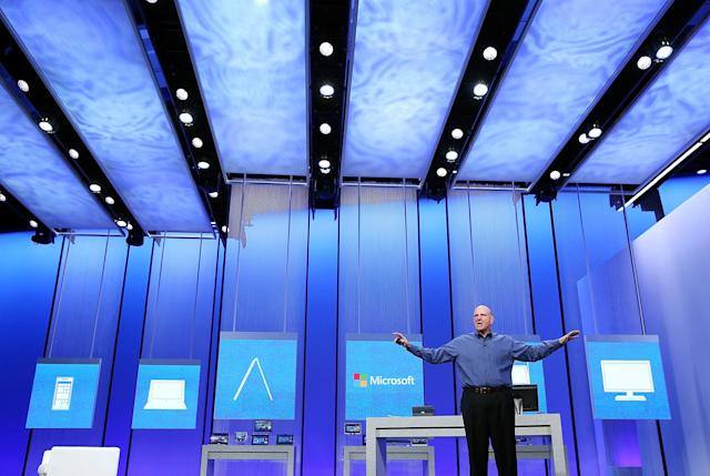 SAN FRANCISCO, CA - JUNE 26: Microsoft CEO Steve Ballmer speaks during the keynote address during the Microsoft Build Conference on June 26, 2013 in San Francisco, California. Microsoft debuted an upgrade to their Windows 8 operating system during the Microsoft Build Conference that runs through June 28. (Photo by Justin Sullivan/Getty Images)