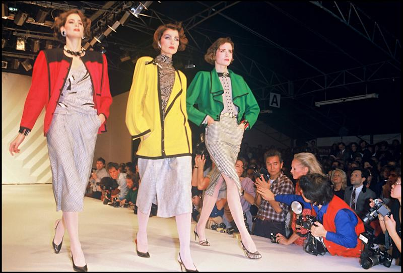 Models walk the runway at Givenchy's spring/summer 1984 show.