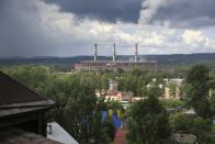 In this photo taken on Thursday, July 5, 2018, a factory where Russian midfielder Alexander Golovin practiced as a child, in Kaltan, Russia. When Russia plays at the World Cup, Kaltan looks like a ghost town. This remote Siberian coal-mining town is the home of Golovin, whose key role in Russia's run to the World Cup quarterfinals has made him a national hero. (AP Photo/Yaroslav Belyaev)