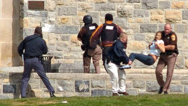 PHOTO: An injured person is carried out of Norris Hall at Virginia Tech in Blacksburg, Va., April 16, 2007. Seung-Hui Cho, a senior at the school, killed 32 people before killing himself. (Alan Kim/The Roanoke Times/AP)