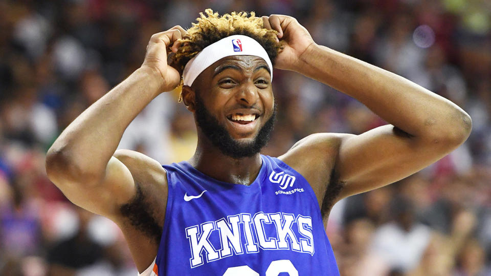 Mitchell Robinson reacting in the NBA Summer League for the New York Knicks.