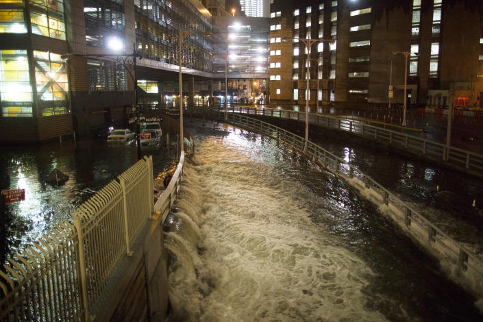 FILE - In this Oct. 29, 2012 file photo, seawater floods the entrance to the Brooklyn Battery Tunnel during Superstorm Sandy in New York. Disaster experts say people have to think about the big disaster that happens only a few times a lifetime at most, but is devastating when it hits — Hurricane Katrina, Superstorm Sandy, the 2011 super outbreak of tornadoes, the 1906 San Francisco earthquake or a horrible pandemic. (AP Photo/ John Minchillo, File)
