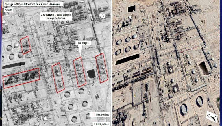 Images from the al-Huthi Media Office show what they say are satellite pictures of before, on the right, and after the weekend attack on Saudi Aramco's oil fields
