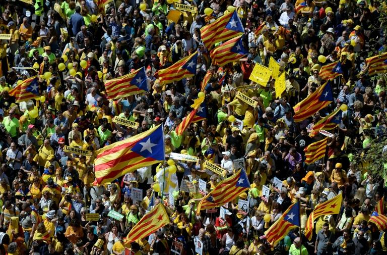 The protest was backed by the Catalan branches of Spain's two largest trade unions