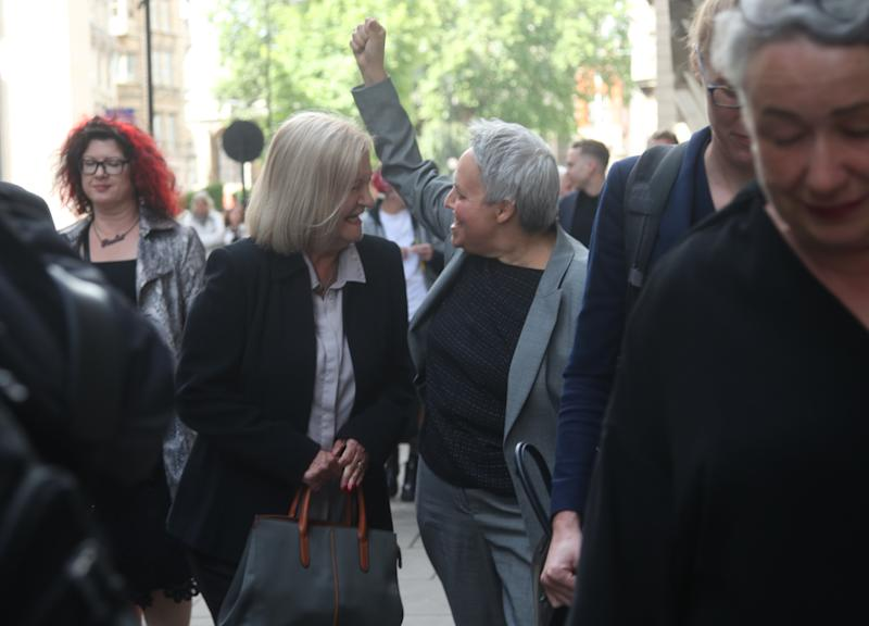 Sally Challen, with lawyer Harriet Wistrich, leaving the Old Bailey after hearing she will not face a retrial over the death of her husband Richard Challen in 2010. | Yui Mok – PA Images/ Getty Images