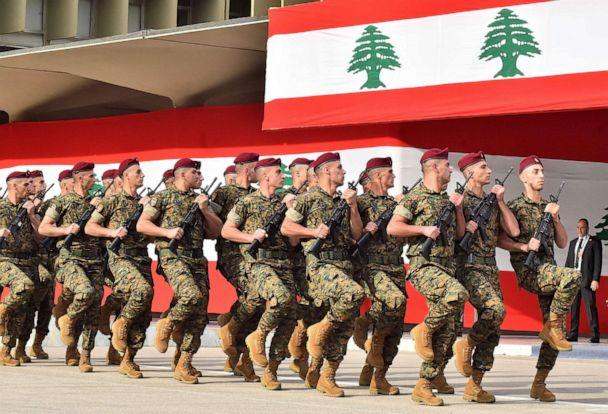 PHOTO: Lebanese army soldiers march during a military parade commemorating the 76th anniversary of Lebanese independence from France at the Defence Ministry headquarters in Yarze on Nov. 22, 2019. (AFP via Getty Images)