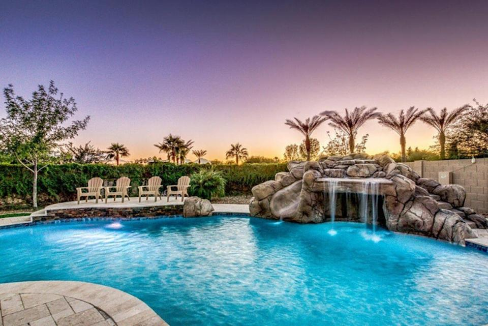 Private pool and waterfall in Arizona