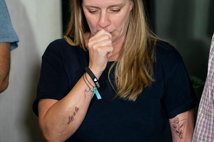 Nicole Schmidt at a press conference calling for information about her daughter's disappearance on 13 September (AP)