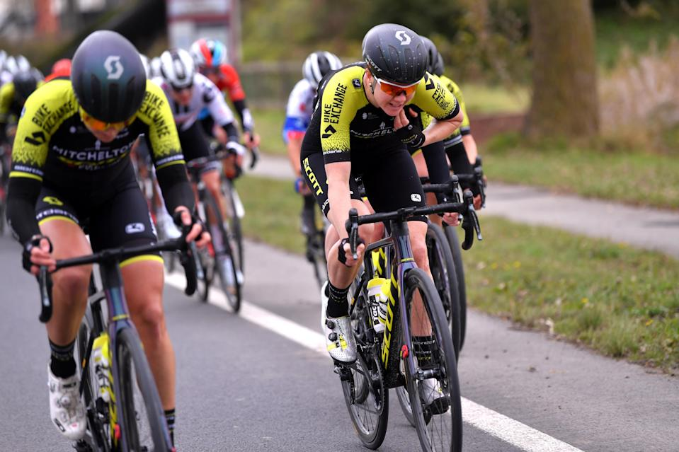 DE PANNE BELGIUM  OCTOBER 20 Sarah Roy of Australia and Team Mitchelton  Scott  during the 3rd Driedaagse Brugge  De Panne 2020 Women Classic a 1563km race from Brugge to De Panne  AG3daagse  on October 20 2020 in De Panne Belgium Photo by Luc ClaessenGetty Images