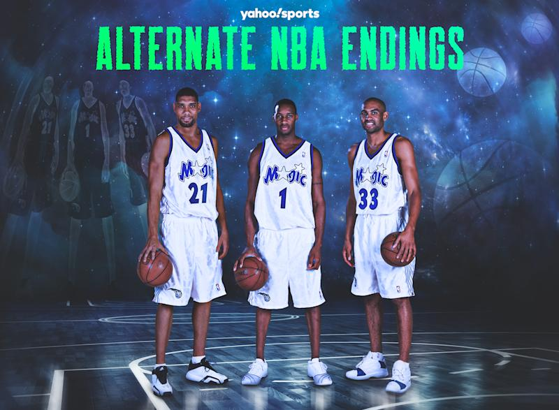 """Tim Duncan was """"very close"""" to joining Tracy McGrady and Grant Hill on the Orlando Magic in 2000. (Yahoo Sports graphic)"""