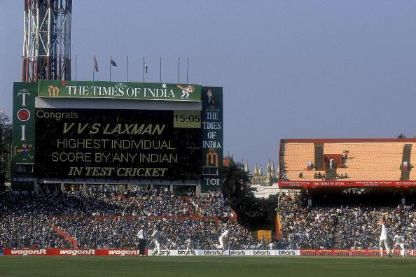 14 Mar 2001:  The scoreboard congratulates VVS Laxman of India for the highest individual score by any Indian in test cricket, after he surpassed the previous record of 236 held by legend Sunil Gavaskar during the Second Test match against Australia played at the Eden Gardens in Calcutta, India. India won the game by 171 runs to level the three test series at 1-1. \ Mandatory Credit: Shaun Botterill /Allsport