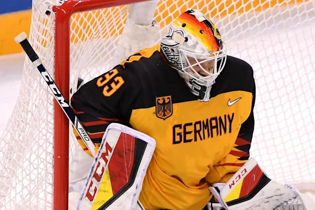 <p>Danny Aus Den Birken #33 of Germany allows a goal in the third period against Nikita Gusev #97 of Olympic Athlete from Russia (not pictured) during the Men's Gold Medal Game on day sixteen of the PyeongChang 2018 Winter Olympic Games at Gangneung Hockey Centre on February 25, 2018 in Gangneung, South Korea. (Photo by Harry How/Getty Images) </p>