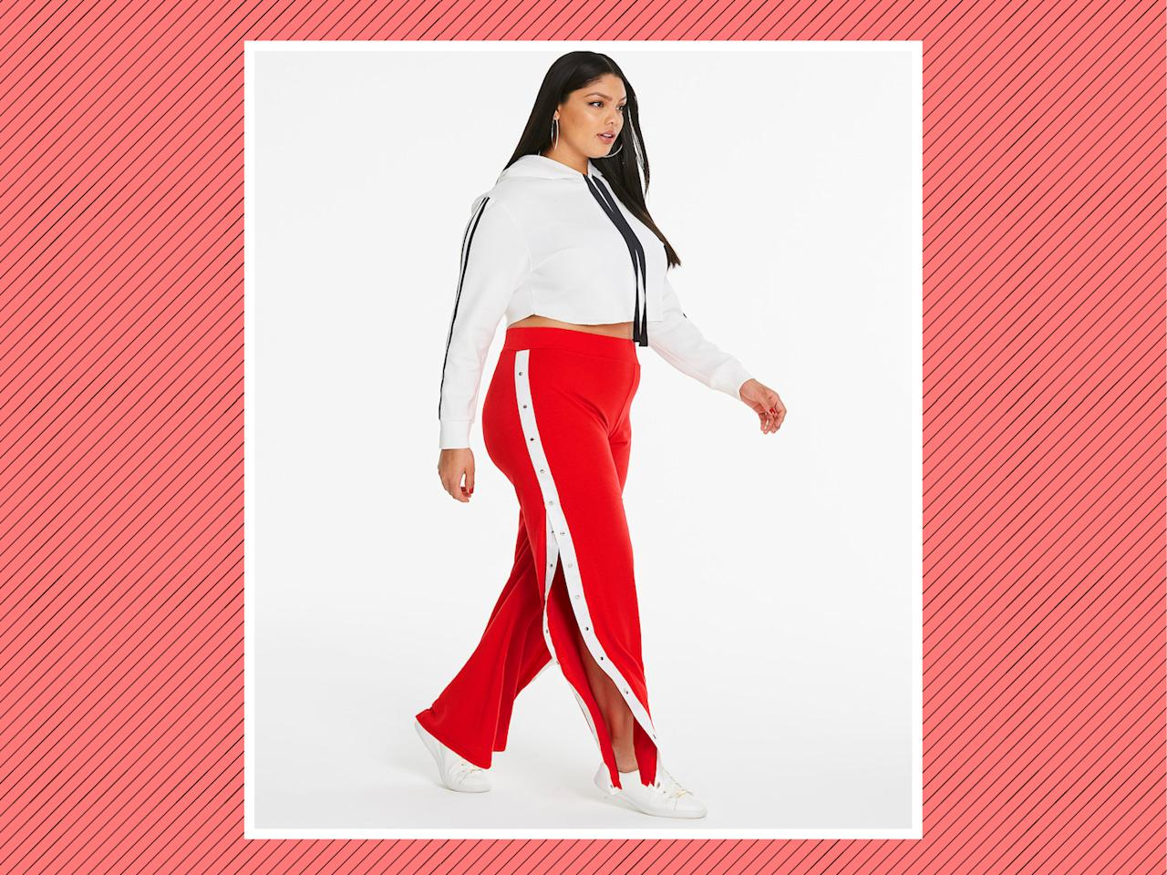 "<p>Side Strip Popper Trousers, $46, <a rel=""nofollow"" href=""https://www.simplybe.com/en-us/products/sbu-popper-trousers/p/WZ585#v=color%3AWZ585_RED%2FIVORY%7C"">Simply Be </a>(Photo: Simply Be) </p>"