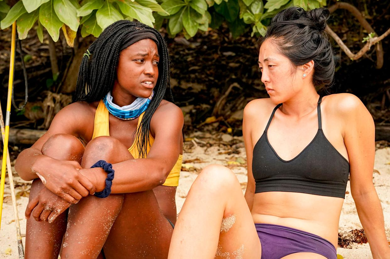 """Missy Byrd (left) and Kellee Kim (right) of """"Survivor"""" discuss their own experiences with Dan Spilo. (Photo: Robert Voets/CBS Entertainment )"""