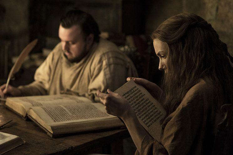 John Bradley as Samwell Tarly and Hannah Murray as Gilly in HBO's Game of Thrones . (Photo Credit: HBO)