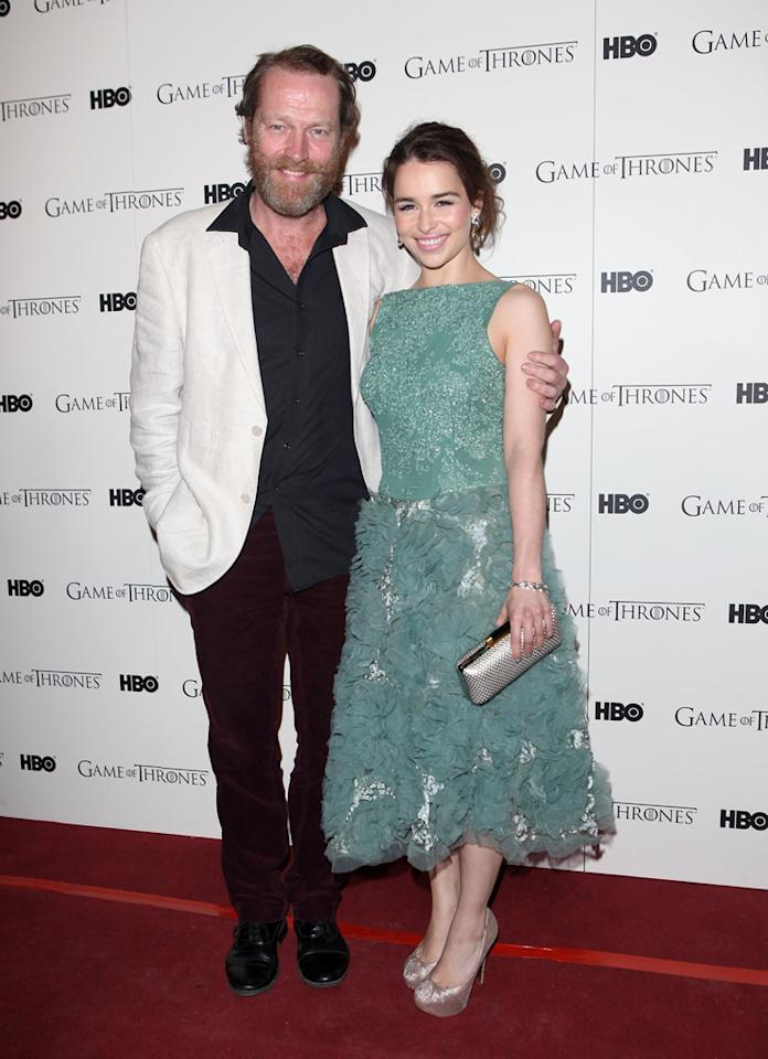 "Iain Glen and Emilia Clarke attend the ""<span style=""text-decoration:underline;""></span><a target=""_blank"" href=""http://tv.yahoo.com/game-of-thrones/show/41208"">Game of Thrones</a>"" Season 1 DVD premiere at Old Vic Tunnels on February 29, 2012 in London, England."
