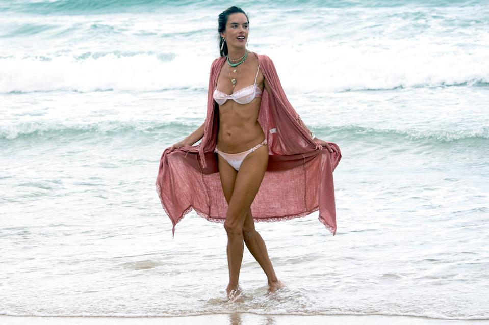<p>Alessandra Ambrósio shows off her famous figure during a visit to the beach in her native Brazil on Friday.</p>