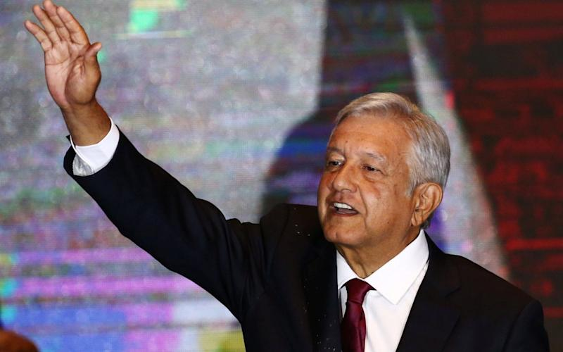 Andres Manuel Lopez Obrador, the new president of Mexico, addressing supporters in Mexico City on Sunday night - REUTERS