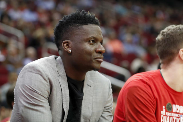 Clint Capela will have to wait at least another two weeks to make his debut with the Atlanta Hawks. (Tim Warner/Getty Images)